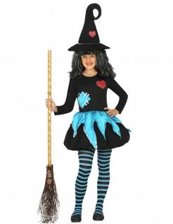 Süsse Hexe-Kinderkostüm für Mädchen blau-schwarz