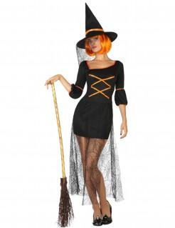 Halloween Hexen Kleid kurz mit Spinnennetz Verzierung für Damen schwarz-orange