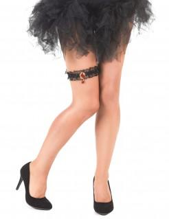Sexy Spitzen-Strumpfband mit Stein rot-schwarz