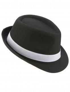 Trilby Party-Hut mit Band schwarz-weiss