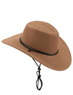 Cowboy Hut aus Wildlederimitat für Erwachsene braun