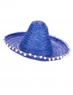 Mexikanischer Sombrero Hut mit Bommel blau