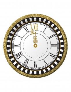 Silvester-Teller Uhren-Motiv 8 Stück weiss-gold-schwarz 18cm