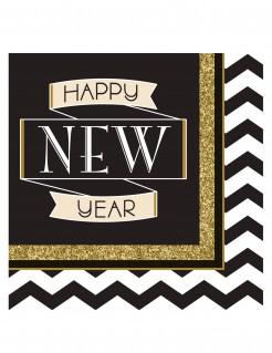 Silvesterparty-Servietten Happy New Year 16 Stück schwarz-gold-weiss 33x33cm