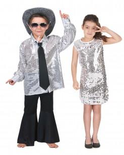 Disco-Paarkostüm für Kinder Fasching silber