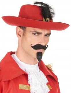 Eleganter Musketier Hut rot-schwarz-gold