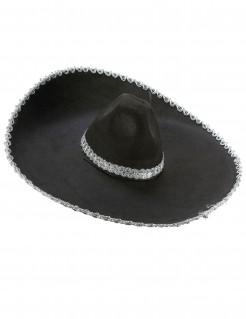 Mexikanischer Sombrero schwarz-silber