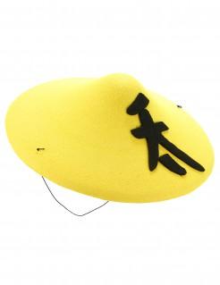 Asiatischer Hut Kostüm-Zubehör gelb-schwarz