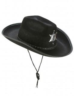 Cowboyhut Sheriff-Hut schwarz-silber