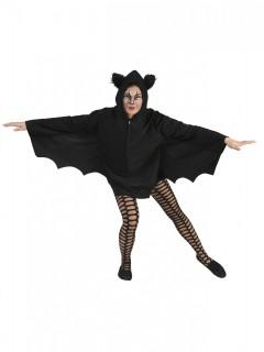 Fledermaus Halloween-Umhang für Damen schwarz 78cm