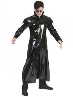 Mantel im Lack-Look schwarz