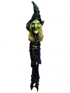 Schauriger Hexen-Kopf mit Licht Halloween-Deko schwarz-grün 150cm