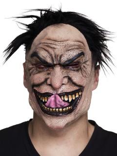 Verrückter Psychpath Halloween-Maske hautfarben-schwarz