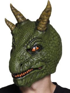 Hochwertige Drachen-Maske mit Hörnern Fantasy-Maske grün-gold