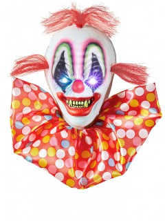 Horror-Clown Halloween-Deko leuchtend rot-weiss-bunt 40x33cm