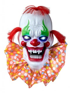 Psycho-Clown animiert Halloween-Deko weiss-bunt 58cm