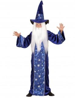 Kleiner Zauberer-Kinderkostüm für Jungen blau-silber