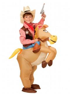 Western-Pferd-Kostüm aufblasbar Kinder braun