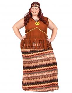 70er Jahre Hippiekostüm Damen braun-bunt