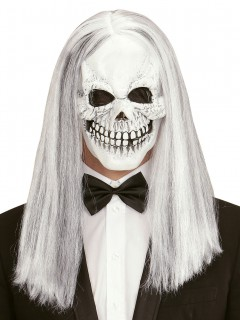 Skelett-Maske mit langen Haaren Halloween weiss