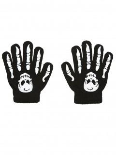 Skelett-Handschuhe für Kinder Halloween schwarz-weiss