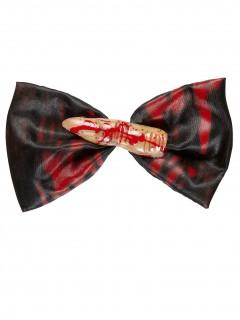 Abgeschnittener Finger Halloween Fliege schwarz-rot