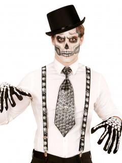 Halloween-Hosenträger Spinnen schwarz-weiss