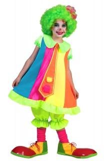 Lustiges Kinder-Clownskostüm neonfarben