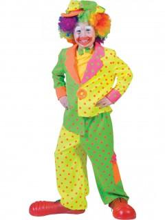 Clownkostüm mit Punkten für Kinder neon-bunt