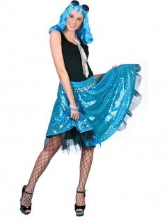 Damen-Disco-Tellerrock - mit Paillettendruck - blau/silber