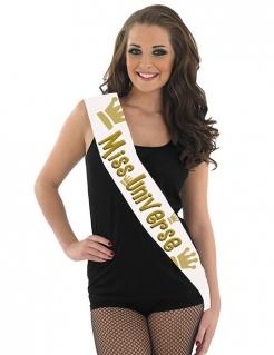 Miss Univers Schärpe weiss-gold 80x14
