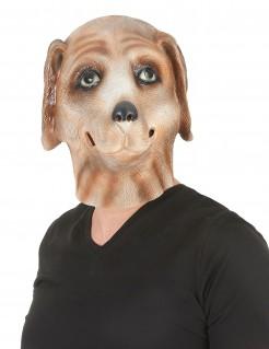 Hund Latexmaske für Erwachsene braun