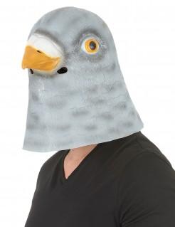 Tauben-Latexmaske für Erwachsene grau-weiss-orange