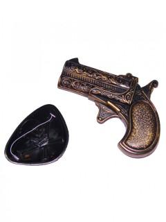 Piraten Set 2-teilig Augenklappe und Pistole 10x9cm schwarz-bronze