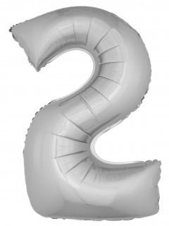 Aluminium-Ballon Zahl 2 Dekoration silber 1m