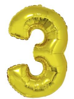Riesiger Folienballon Ziffer 3 goldfarben 1m