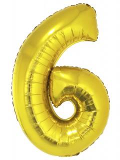 Riesen-Luftballon Zahlen-Ballon Zahl 6 gold 1m