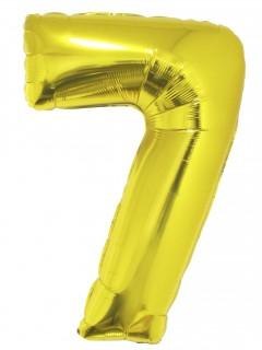 Riesen-Luftballon Zahl 7 Partydeko gold 1m