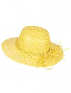 Sommerlicher Strohhut mit Hutband gelb