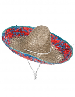 Sombrero Mexiko Stroh-Hut beige-rot-blau