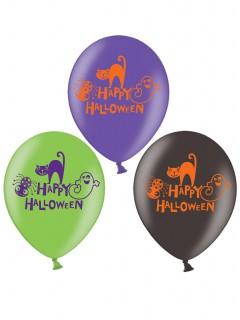 Halloween Luftballons Ballon Set für Kinder 6 Stück lila-grün-schwarz 27cm