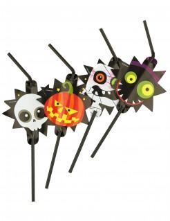 Süsse Monster Strohhalm-Set Halloween Party-Deko bunt 8 Stück