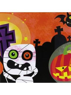 Halloween-Servietten kleine Mumie-Partyservietten 20 Stück bunt 16,6x16,5cm