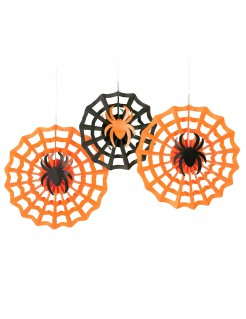 Schaurige Spinnen Halloween Hänge-Deko Set 3-teilig schwarz-orange 30-40cm