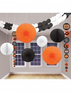 Schaurige Girlanden und Waben Halloween Raumdeko-Set 9-teilig bunt 20-360cm