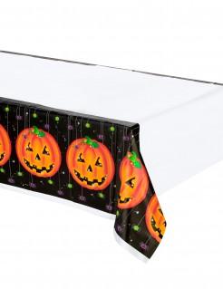 Kürbis Halloween-Tischdecke weiss-orange-schwarz 137x259cm