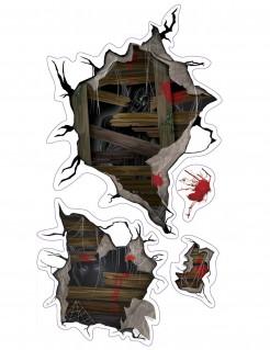 Schaurige Monster Halloween-Wandaufkleber Deko bunt 35x10cm