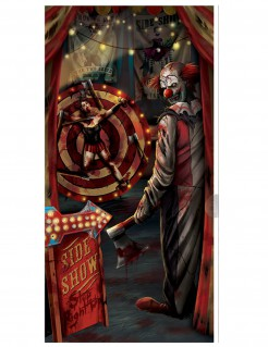Horror-Clown Türposter Halloween-Deko bunt 85x165cm