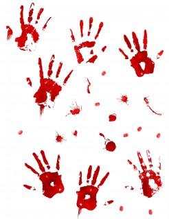 Blutige Aufkleber Halloween-Deko rot 2-18cm
