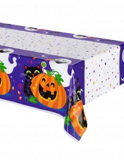 Kinder-Halloween Tischdecke weiss-lila-bunt 213x137cm